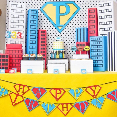 vintage super hero birthday party printables-400x400